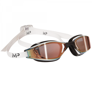 Michael Phelps Adult XCEED Goggles - Titanium Gold Mirrored Lens -  White/Black