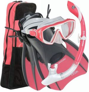 U.S. Divers Adult Pro LX Snorkel and Mask Set with Travel Bag - Coral