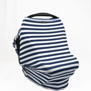 Luv Bug Sunscreen Car Seat Cover w/ Side Vents - Navy Stripes