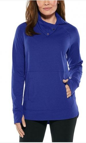 Coolibar Ladies Sea Breeze Funnel Neck Top UPF 50+ - Sapphire Blue