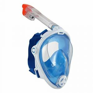 U.S. Divers Hydroair Full Face Mask with Snorkel and 180 Vision - White/Blue