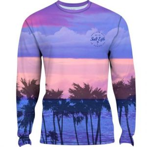 Salt Life Youth Pink Dreams Performance Long Sleeve Tee - Lilac-Large