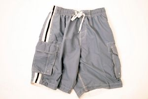 Panama Jack Board Short with Side Stripe - Grey with Navy Stripe - Small