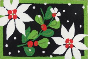 Home Comfort Poinsettias & Mistletoe Rug