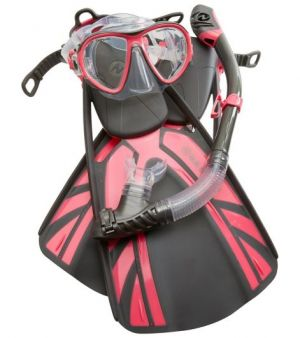 U.S. Divers Adult Submersible Dry Top Snorkel Set - Pink/Grey -  M4-8.5 / W5-9.5