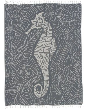 Sand Cloud 100% Turkish Organic Cotton LG Towel - Navy Seahorse Swirl - 57x70